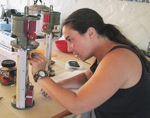 Trish doing field repairs.