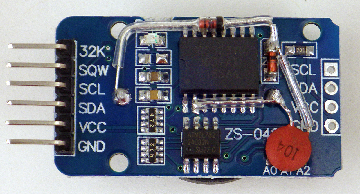 Using A 1 Ds3231 Real Time Clock Module With Arduino Underwater Shield Schematic Power Led Disconnected Trace Between Cr2032 Vbat Is Cut Positive Coin Cell Post Then Re Connected To Through 1n4148 Diode Vcc Pin On