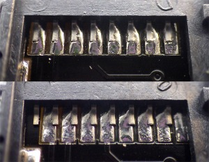Inspect all solder joints. The lower image shows a pretty typical alignment skew on the cheap SD adapters.